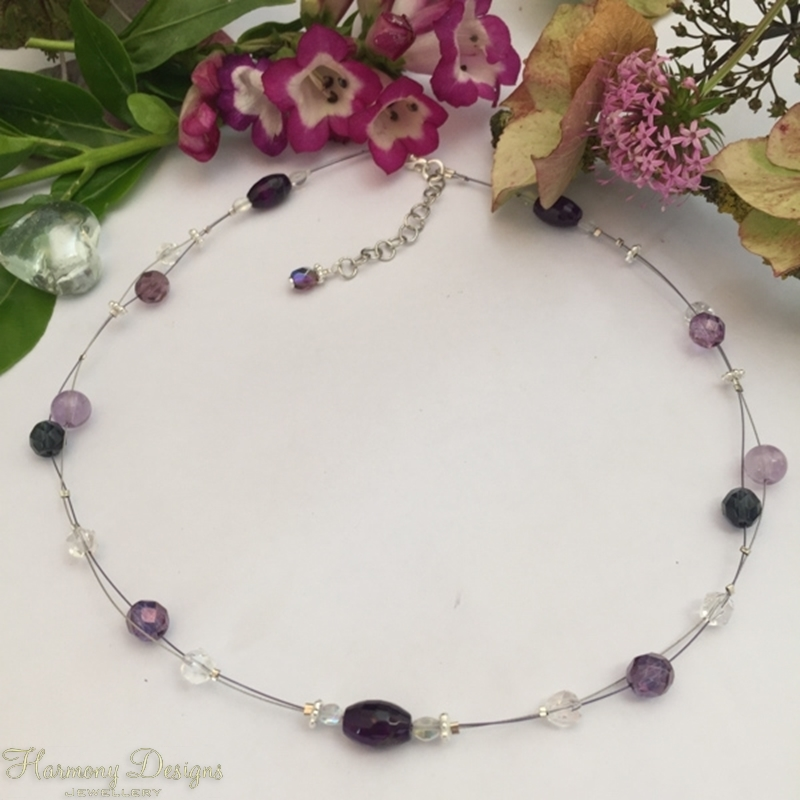 Picture of Limited Stock - Delicate -  Amethyst - Agate - Czech Fired Glass Crystal  - Sliver Plated - Illusion Necklace (N40)