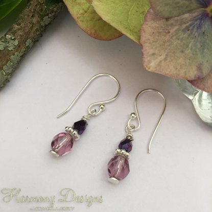 Picture of Delicately Appealing -  Czech Fired Glass Crystal  - Amethyst Tones - Sliver Plated - Earrings (E38)
