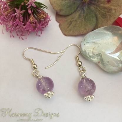 Picture of Amethyst  -  Adorable  - Dainty  -  Silver Plated - Earrings (E40)