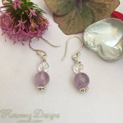 Picture of Amethyst  - Quartz Crystal Faceted  -  Quaint   - Graceful   - Reflective -  Silver Plated - Earrings (41)