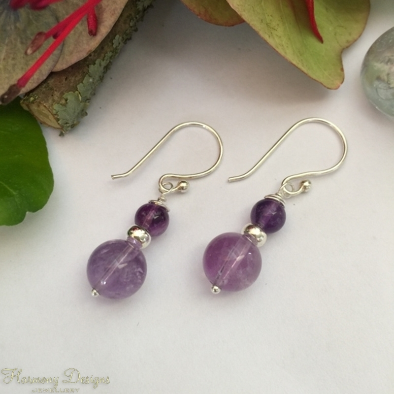 Picture of Pretty - Amethyst - Silver Plated - Earrings (E4)