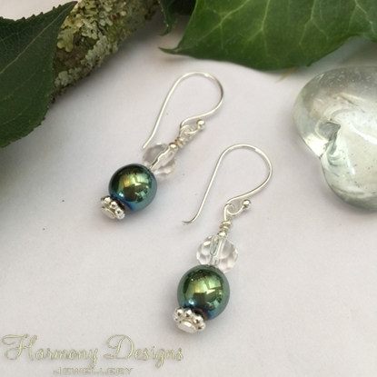 Picture of Limited Stock - Haematite - Czech Clear Polished Faceted Glass - Vibrant  -  luxury look - Silver Plated - Earrings (E42)