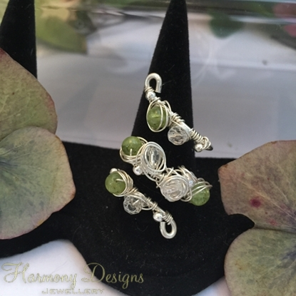 Picture of Delicately Intricate  - Peridot -  Czech Fired Glass Crystal - Faceted Quartz - Wire Worked - Sliver Plated -  Wire Weaving -  Expandable  - Dress Ring - (R12)