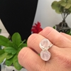 Picture of Limited Stock - Distinctive - Ornate - Rose Quartz  Pears - Silver Plated - Wire Work - Ring - (R32)