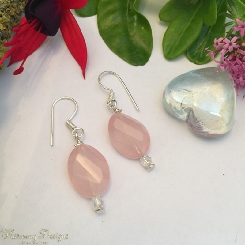 Picture of Limited Stock - Eye-Catching  -  Unusual  Faceted Cut Rose Quartz -  Czech Fired Glass faceted -  Sliver Plated - Earrings (E44)