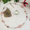 Picture of Limited Delicate -   Rose Quartz - Pearl -  Czech Fired Glass Crystal  -  Silver Plated Beads  - Shell Pearls -  Illusion Necklace - (N36)