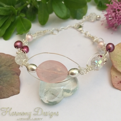 Picture of Delicate - Rose Quartz - Pearl -  Czech Fired Glass Crystal  -  Silver Plated Beads  - Shell Pearls -  Wire Worked - Sliver Plated -  Bracelet (B15)