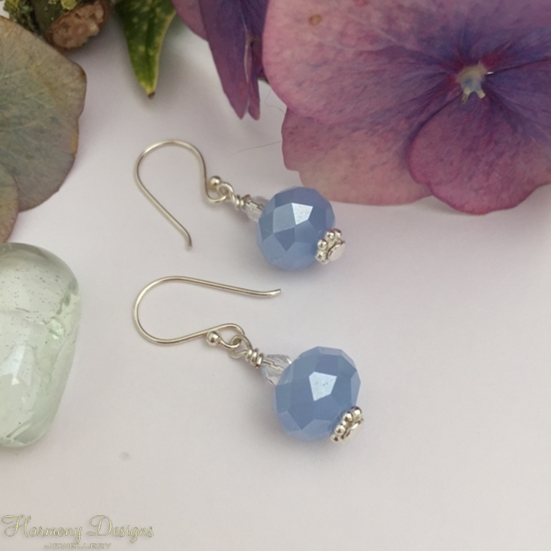 Picture of Delicate - Shimmering - Radiant - Pale Blue Czech Crystal Opaque Glass - Czech Fired Glass Clear faceted Crystal - Silver Plated - Earrings (E26)