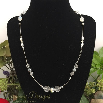 Picture of Strikingly - Glamorous - Haematite - Clear Quartz  - Czech Fired Glass Crystal -  Preciosa Crystal - Celebrity Crystals - Sliver Plated - Illusion Necklace (N42)