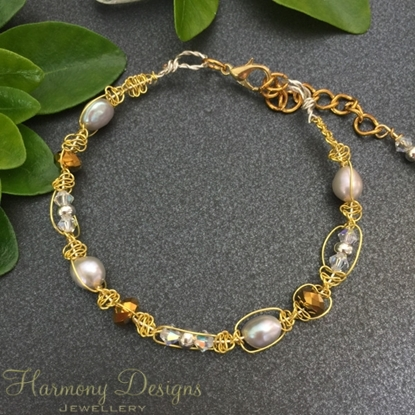 Picture of SOLD - Delicate -  Freshwater Cultured Pearl -  Celebrity Crystals -  Preciosa Crystal -  Silver Plated Beads -  Wire Worked - Gold Plated Bracelet (B16)