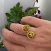 Picture of Attractive - Stylish -  Czech Fired Faceted Polished Glass - Hand Forged - Wire Wrapping  - Gold Plated -  Adjustable - Ring (R30)