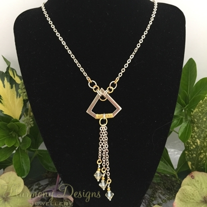 Picture of SOLD -One Only - Geometric - Distinguished - Fashionable - Swarovski - Gold and Silver Plated -  Wire Work - Necklace (N63)