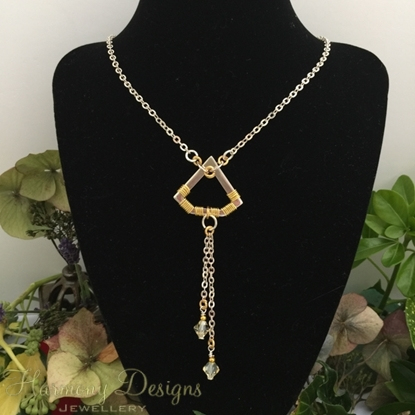 Picture of SOLD -One Only - Geometric - Contemporary - Imaginative - Swarovski - Gold and Silver Plated -  Wire Work - Necklace (N26)
