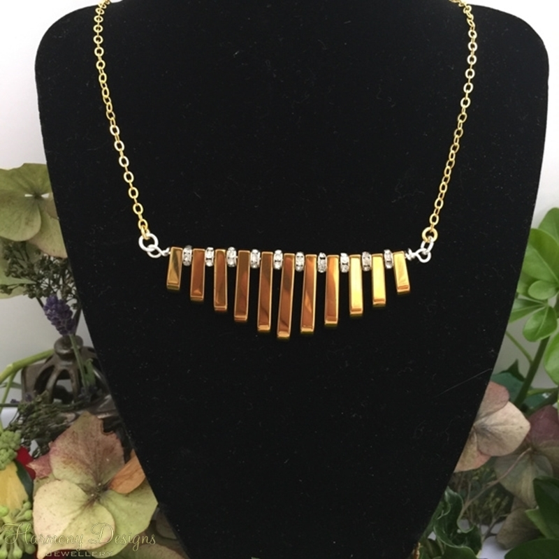 Picture of SOLD - Limited Stock - Haematite - Gold And Sliver Toned - Rhinestones - Dramatic - Glamours - Elegance  - Gold  Plated - Necklace - (N45)