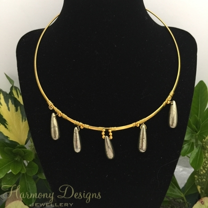 Picture of SOLD -Limited Stock - Luxurious - Pyrite Drops - Contemporary - Metallic - Minimalist -  Gold Plated - Necklace - (N59)