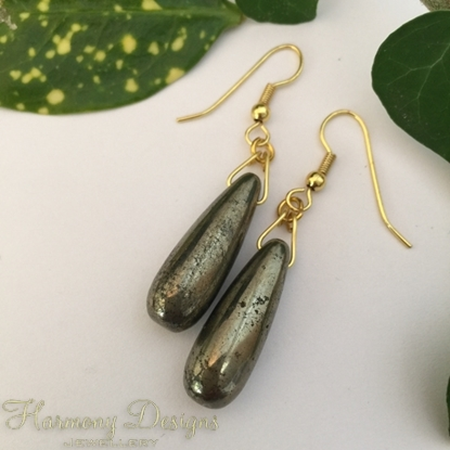 Picture of Limited Stock - Pyrite Drops - Contemporary - Metallic - Minimalist -  Gold Plated - Earrings (E51)