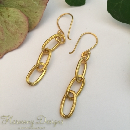 Picture of SOLD (E48) Gold Plated - Chunky Chain - Earrings