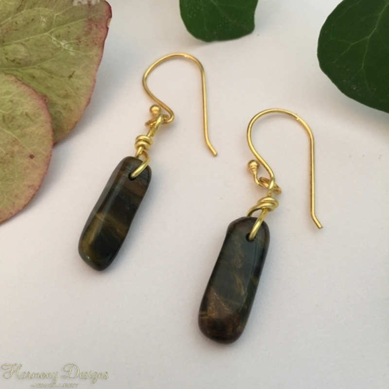 Picture of Natural Yellow Tigers Eye - Chocolate Caramel Shriller - Distinguished -  Simple - Earrings (E52)