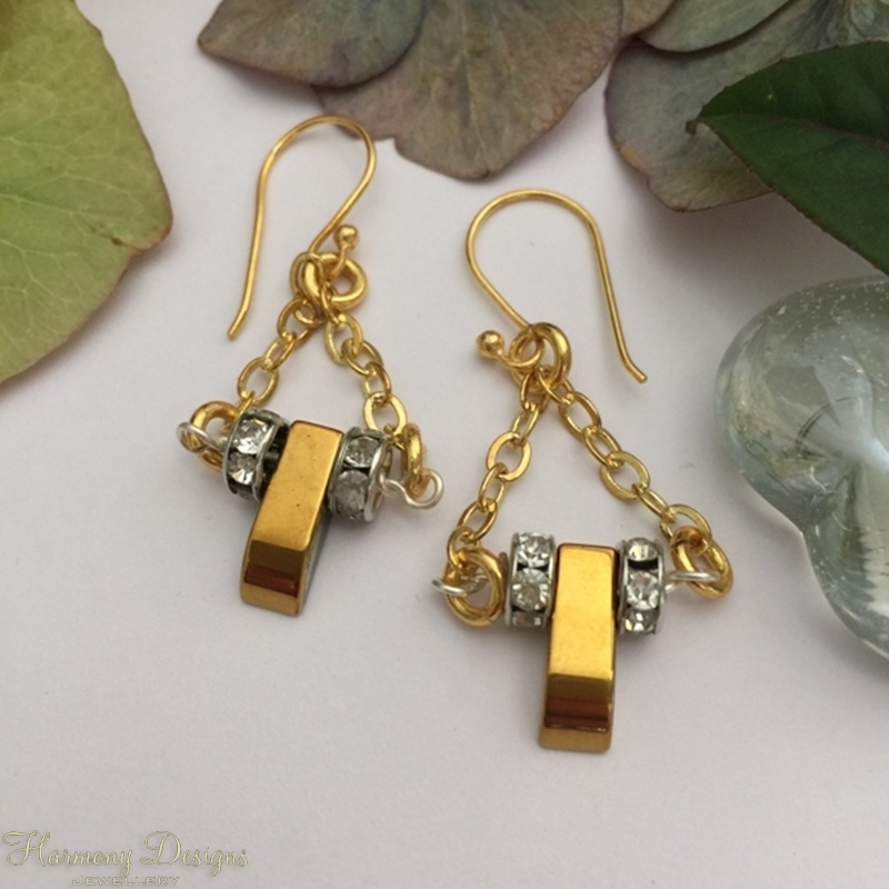 Picture of SOLD - Limited Stock - Haematite - Gold And Sliver Toned - Rhinestones - Dramatic - Glamours - Elegance - Earrings (E53)