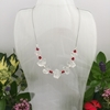 Picture of SOLD - One Only - Unique -  Clear Quartz Natural Nuggets -  Czech Fired Faceted Glass  - Pretty - Reflective - Sophisticated -  Silver Plated - Necklace -  (N53)