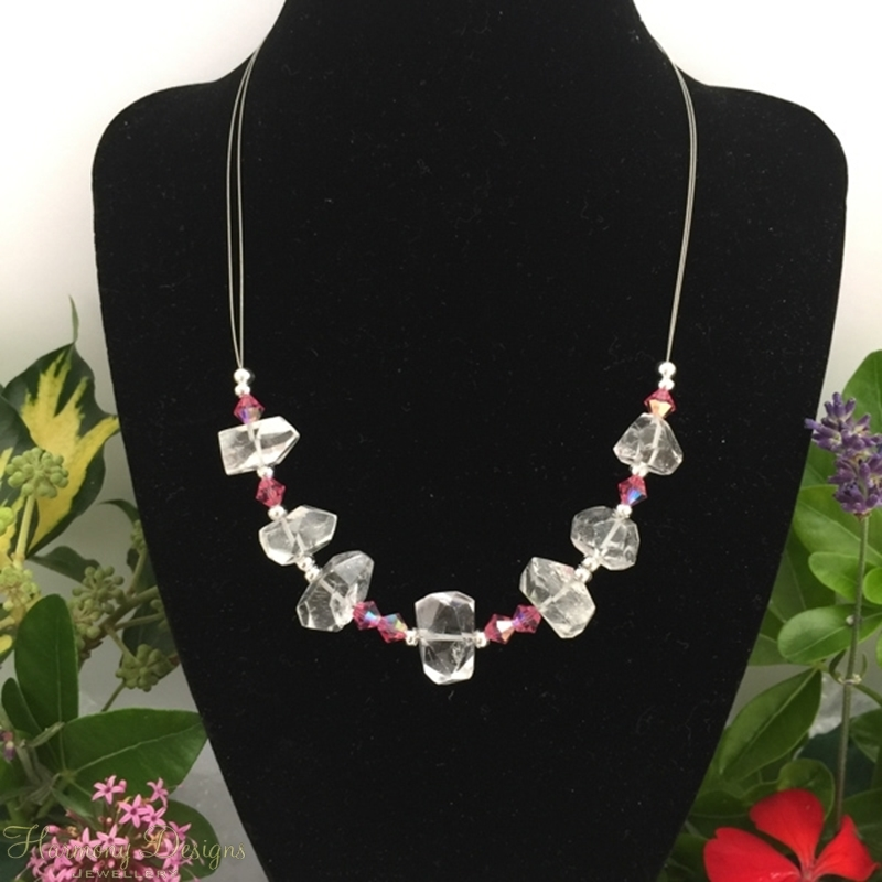 Picture of One Only - Unique -  Clear Quartz Natural Nuggets -  Preciosa Crystals - Elegantly Beautiful  - Eye-Catching  -  Silver Plated - Necklace  - (N52)