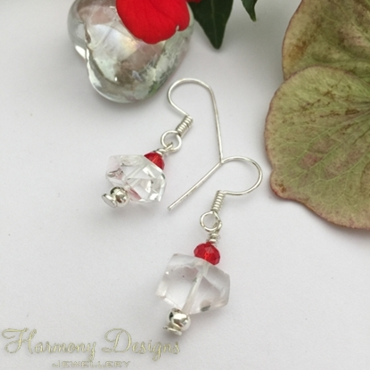 Picture of One Only - Unique -  Clear Quartz Natural Nuggets -  Czech Fired Faceted Glass  -Pretty - Reflective - Sophisticated -  Silver Plated - Earrings   (E21)