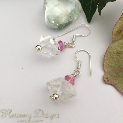 Picture of One Only - Unique -  Clear Quartz Natural Nuggets -  Preciosa Crystals - Elegantly Beautiful  - Eye-Catching  -  Silver Plated - Earrings   (E22)
