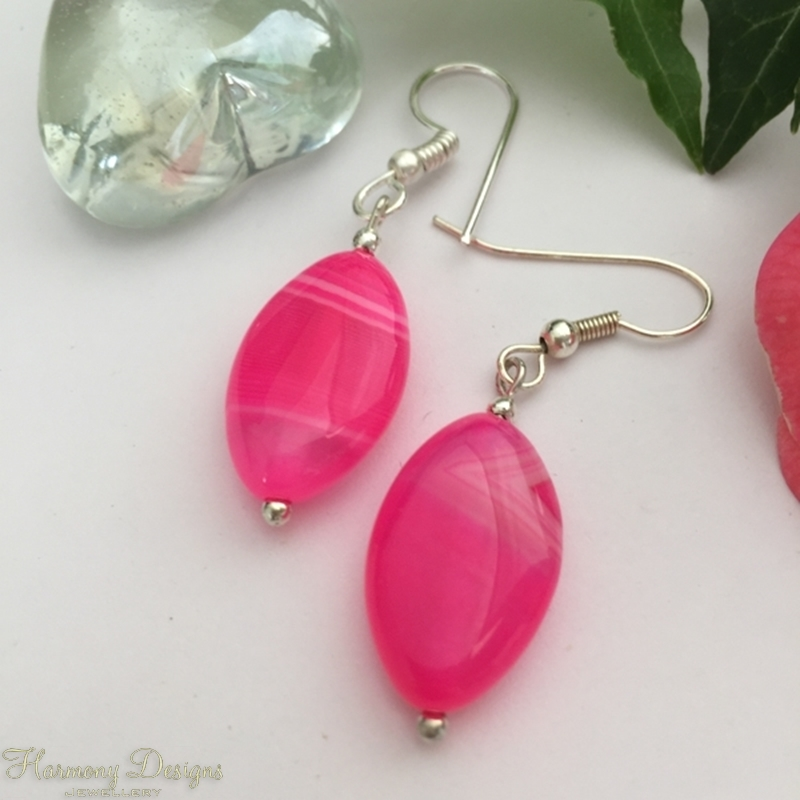 Picture of Hot Pink  Agate - Vibrant - Exquisite -  Pretty - Silver Plated -  Earrings  (E54)