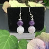 Picture of Limited Stock - Amethyst - Frosted Cracked Agate - Naturally Stunning - Quaint - Silver Plated - Earrings (E55)