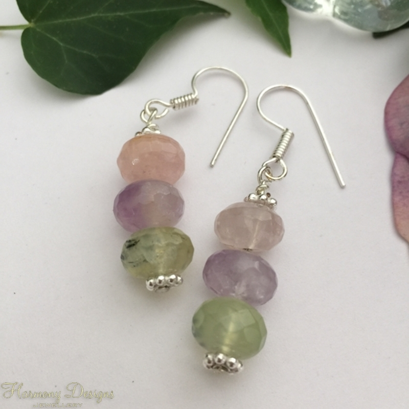 Picture of Limited Stock - Amethyst - Rose Quartz - Green Amethyst - Distinctive And Charming - Fresh -Silver Plated - Earrings (E56)