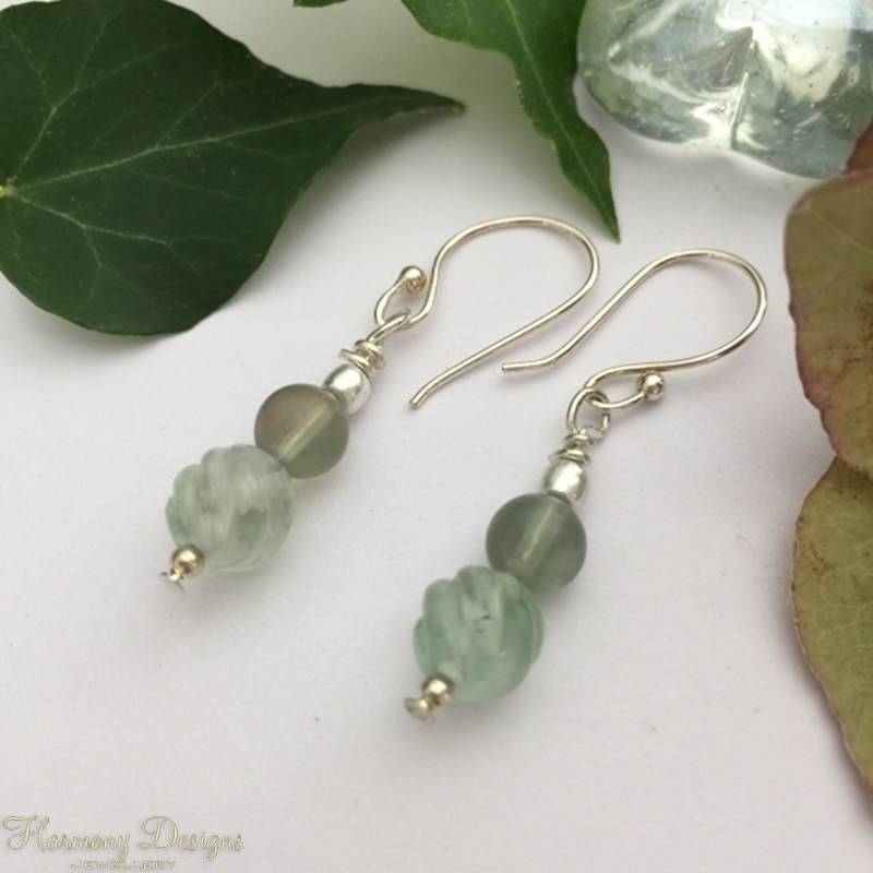 Picture of Dainty - Fresh - Carved -  Fluorite - Delicate Sea Green Tones - Silver Plated - Earrings (E57)