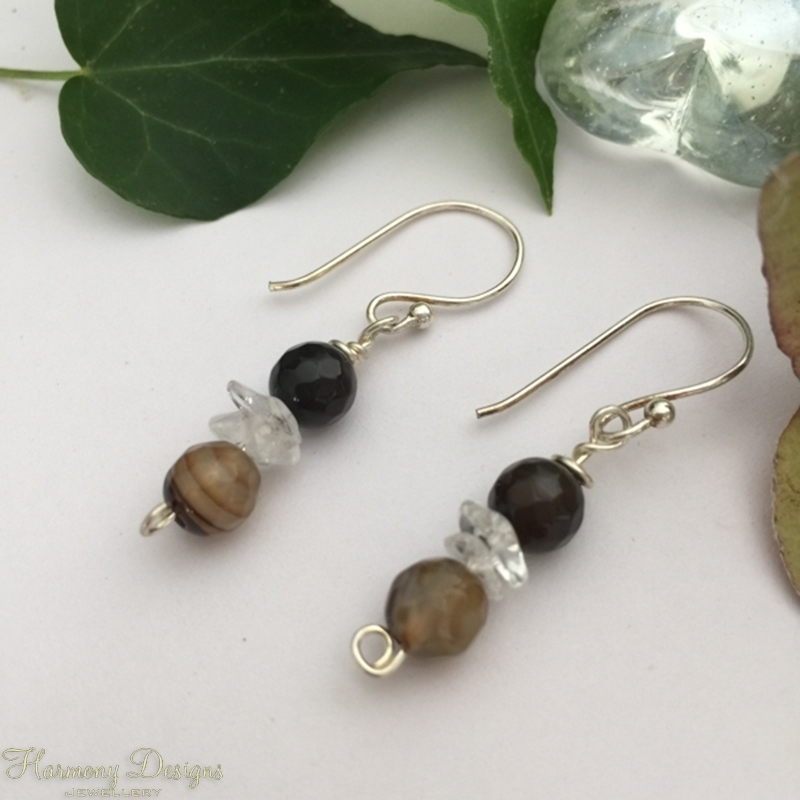 Picture of Dainty - Rich tones -  Natural Banding - Agate Faceted - Quartz - Silver Plated - Earrings (E59)