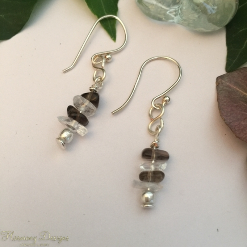 Picture of Very Delicate - Smoked Quartz - Clear Quartz - Figure Of Eight Wire Work - Hand Forged -Silver Plated - Earrings  (E60)