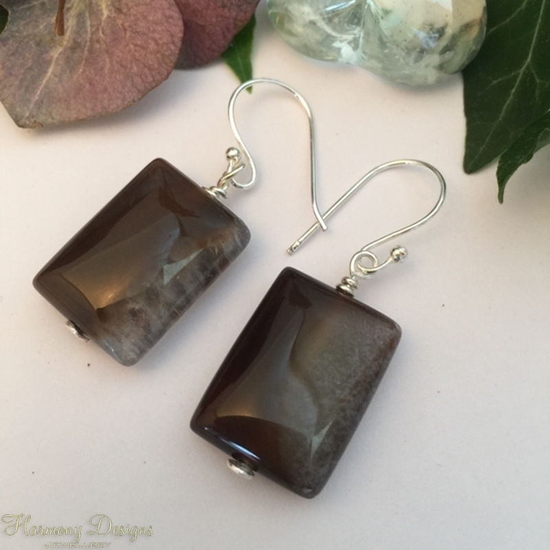 Picture of One Only - Unique -  Quartz Agate Rectangles - Silver plated- Earrings (E61)