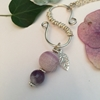 Picture of Imaginative and Captivating  - Amethyst - Frosted Cracked Agate - Naturally Stunning - Hand Forged  -  Wire Work  - Silver Plated - Necklace (N34)