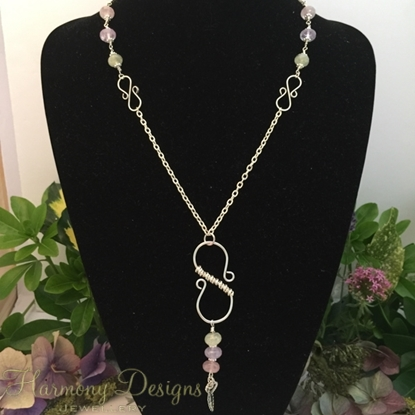 Picture of Limited Stock - Amethyst - Rose Quartz - Green Amethyst - Distinctive And Charming - Fresh - Silver Plated - Hand forged - Wire Work - (N35)