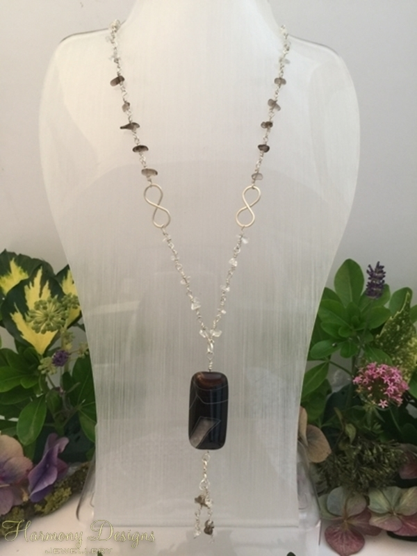 Picture of SOLD (N33)Stunning - Botswana Agate - Smokey Quartz - Clear Quartz - Hand Forged Links - Rosary Link - Wire Work - Neckless