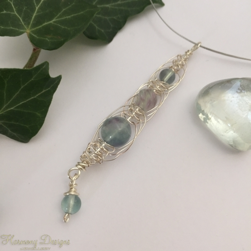 Picture of Limited Stock - Unusual Natural Colour -  Fresh - Intricate  - Fluorite  - Carved -  Wire Worked - Necklace - (N28)