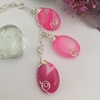Picture of One  Only - Multi Coloured Pink  Agate  - Vibrant -  Pretty - Silver Plated - Wire Worked - Necklace (N2)