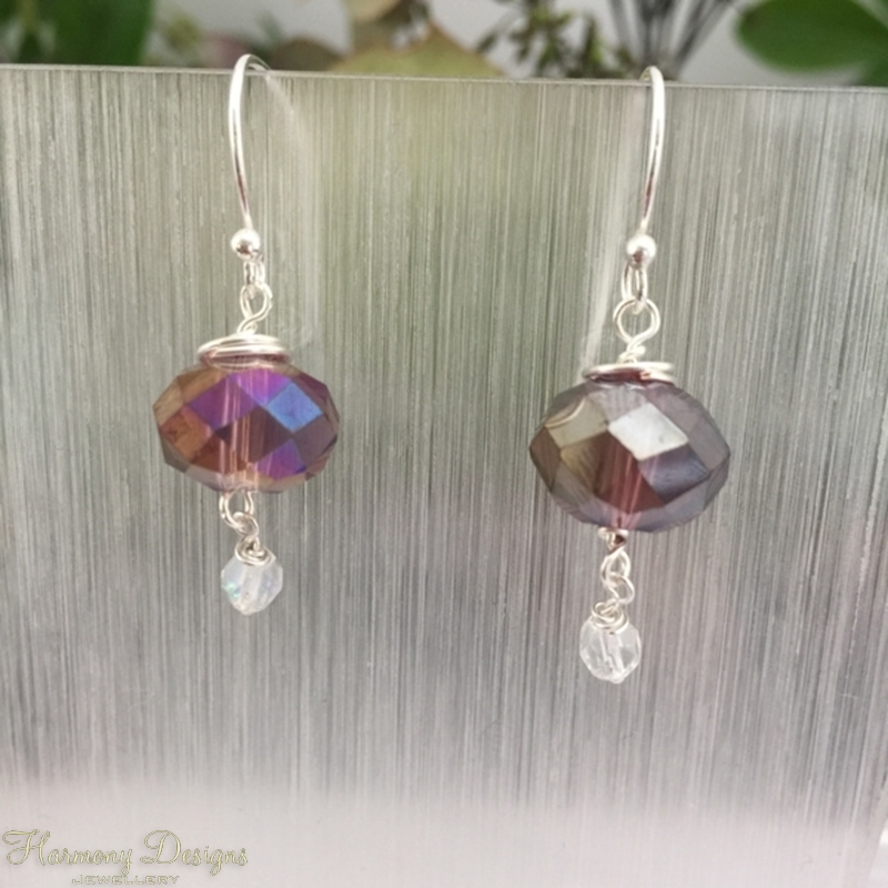 Picture of Stunning and Reflective - Quartz Crystal - AB Celebrity Glass Beads - Czech Fire Polish bead - wire worked - Silver Plated - Earrings (E119)