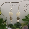Picture of Charming - Whimsical - Shell Hearts  - Labradorite- Cultured Freshwater Pearls - Silver Plated - Earrings  (E65)