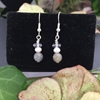 Picture of Quaint - Delicately Charming - Sparkle -  Labradorite- Cultured Freshwater Pearls - White Quartz Faceted - Silver Plated - Earrings(E66)