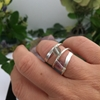 Picture of Charming - Natural  Fluorite  - Wrap Round Style - Double Gemstone -Hand forged - Wire Wrapped - Ring - (R24)