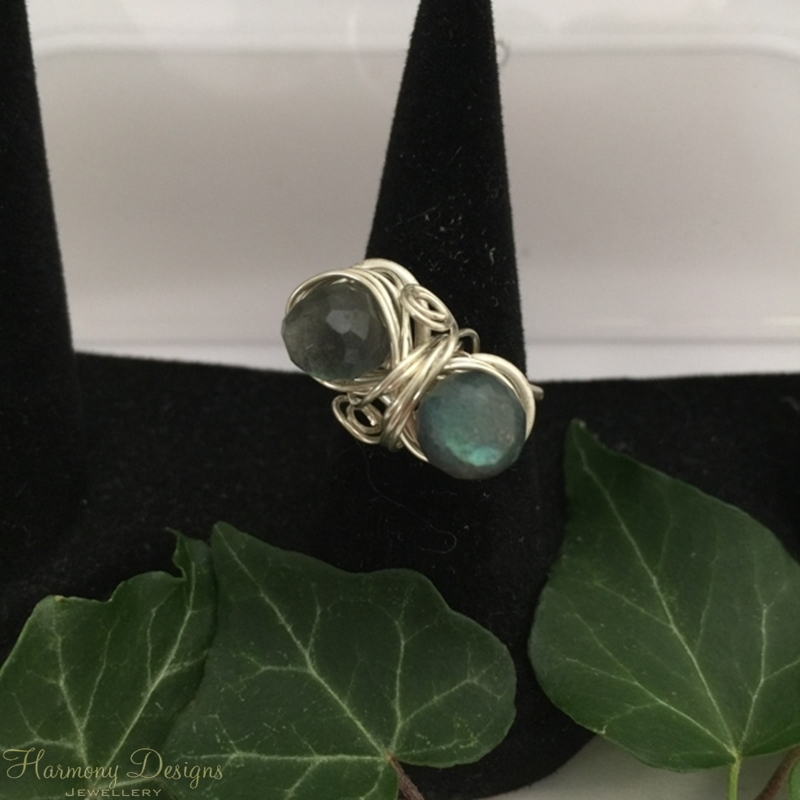 Picture of Radiant Elegance - Labradorite - Ornate - Silver Plated - Wire Work - Ring -(R34)