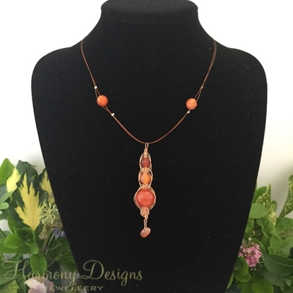 Picture of Intricate -  Stylish -  Radiant - Red/Orange Agate - Copper - Rose Gold - Carnelian - Wire work - Necklace - (N27)