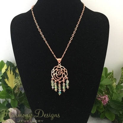 Picture of One Only - Dazzling - Light Catching - Rose gold Plated - Artistically Detailed  - Czech Fired Faceted Polished Glass And Crystal - Necklace -  (N24)