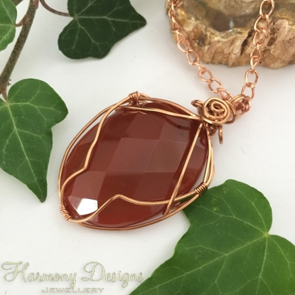 Picture of SOLD -One Only -  Distinctive - Red Jasper - Faceted Pear - Shaped Cabochon - Copper - Rose Gold - Wired Work - (N16)