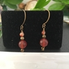 Picture of Unique - Striking  Antique Feel - Fiery - Red And Orange White  Agate - Hand Forged Components - Antique Bronze - Earrings  (E67)