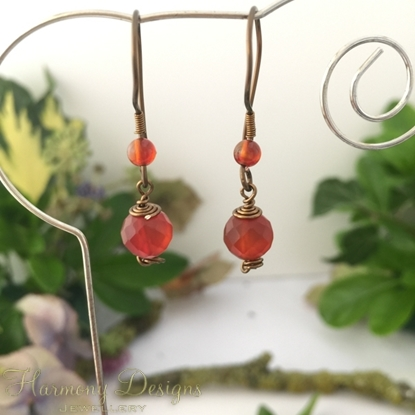 Picture of Unique - Adorable - Antique Feel - Warm -  Red / Orange / White  Agate - Hand Forged Components - Wire work - Antique Bronze - Earrings (E68)