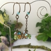 Picture of Cluster Effect - Multi Colour - Czech Fired Faceted Polished Glass - Hand Forged Components - Antique Bronze - Oxidized Antique Bronze - Earrings (E78)